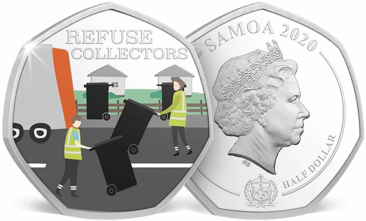 """1/ dollar de Samoa, agradeciendo a los recogedores de basura. De la serie """"Thank you key workers"""""""