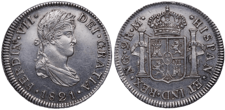 2 reales 1821, Nueva Guatemala