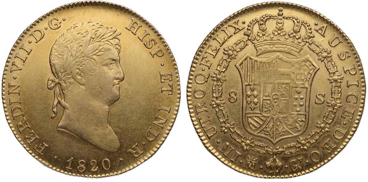 8 escudos Madrid, 1820