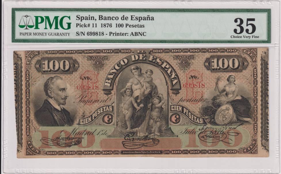 100 pesetas 1876 Lope De Vega