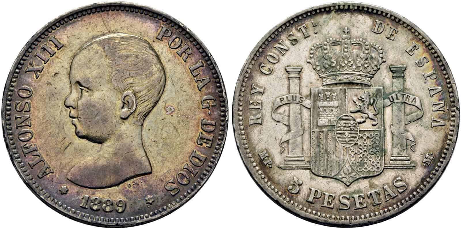 5 pesetas 1889
