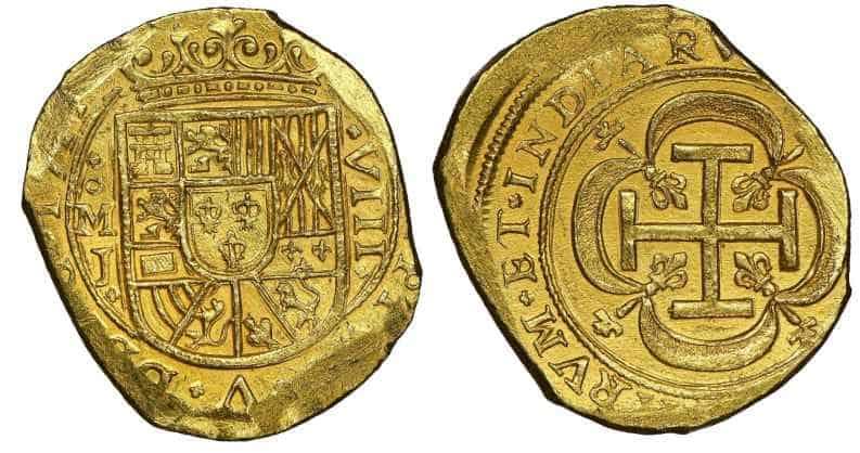 México, 8 escudos 1714 con cuños de galano