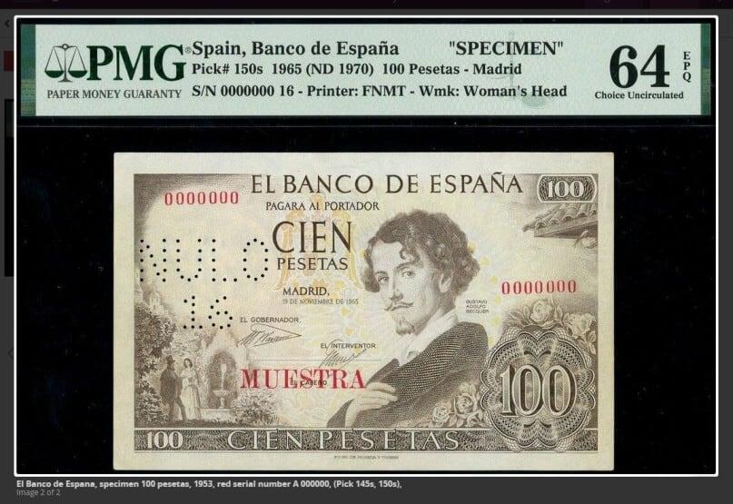 100 pesetas 1965