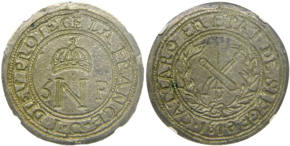 5 francos acuñados durante el Sitio de Cattaro, 1813