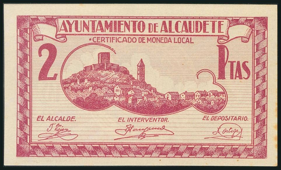 2 pesetas 1937, Alcaudete (Jaén)