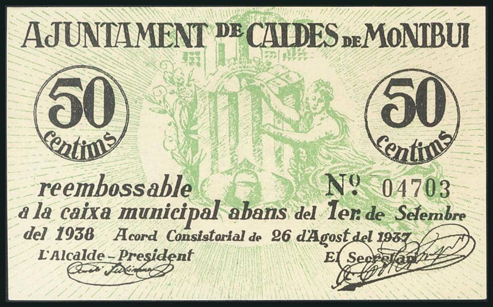 50 céntimos 1937, Caldes de Montbui (Barcelona)