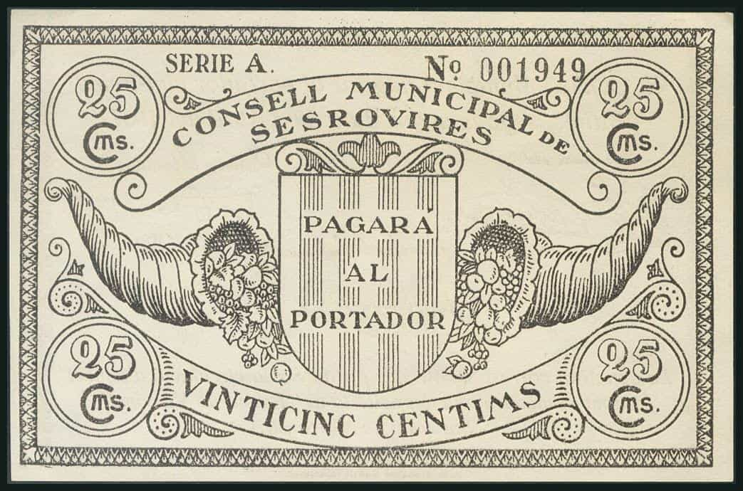 25 céntimos 1937, Sesrovires (Barcelona)
