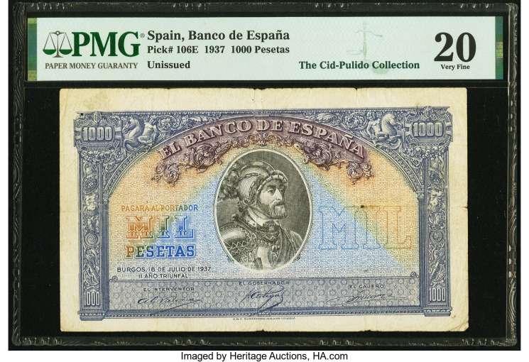 1000 pesetas 1937 Prueba