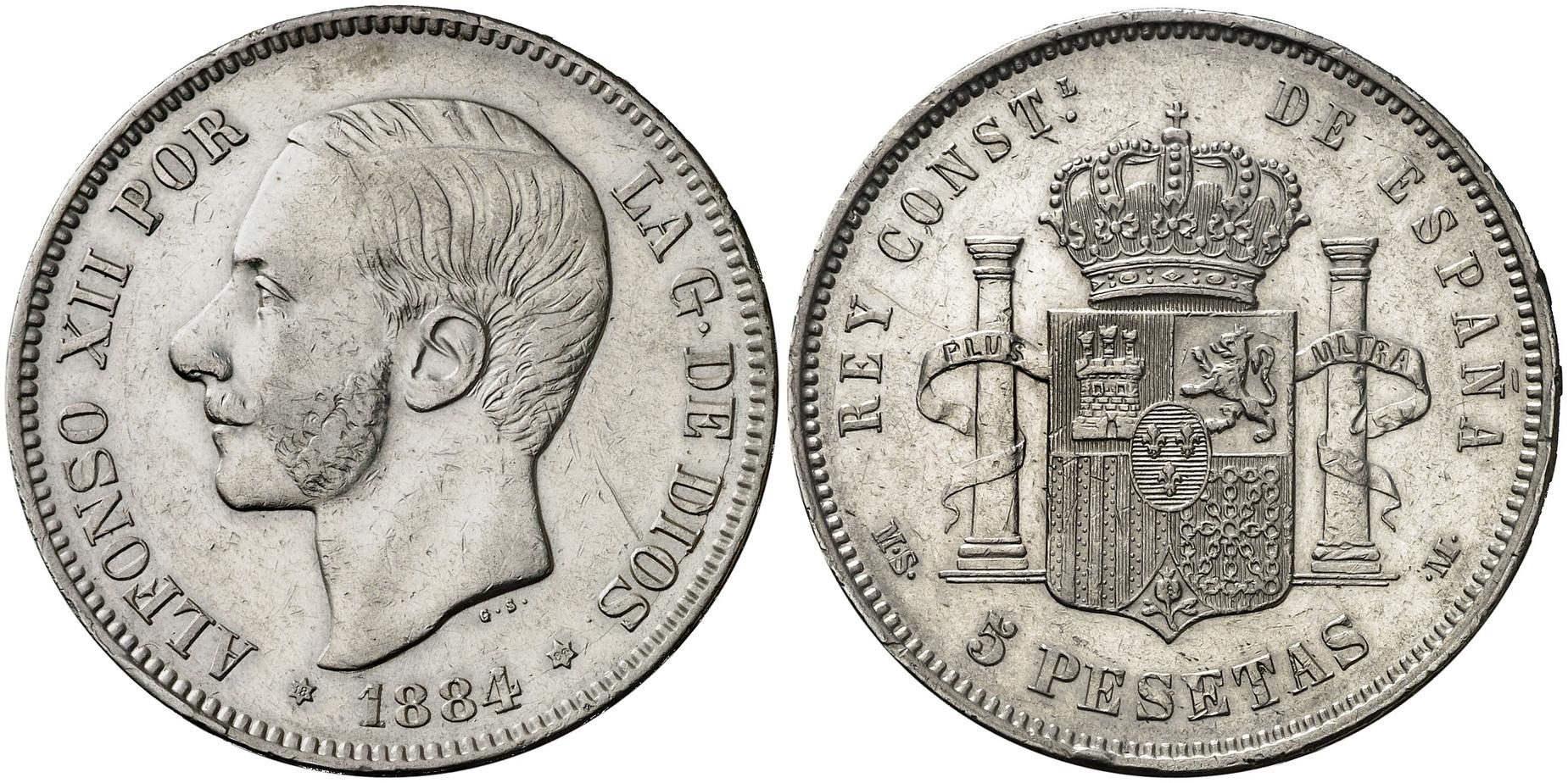 5 pesetas 1884, MSM/DEM