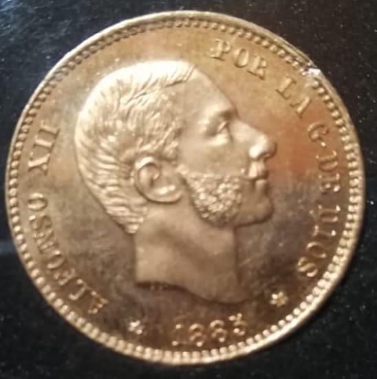 Necesito vender 38 monedas de 25 pesetas 1885