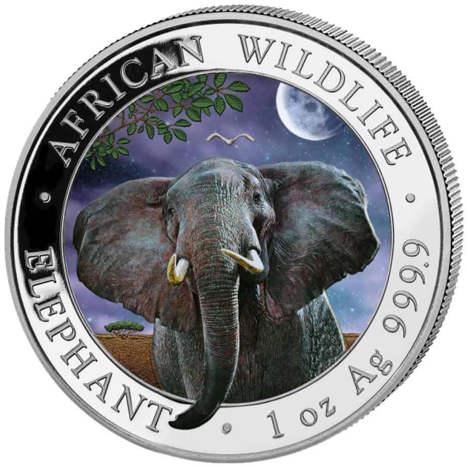 Somalia 1 onza elefante color noche