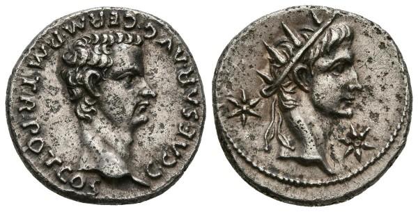 Denario de Calígula y Augusto