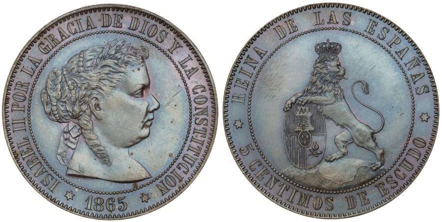 5 céntimos de escudo 1865, prueba