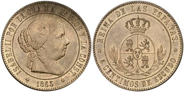 5 céntimos de escudo 1865 sin OM