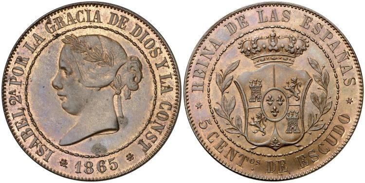 5 céntimos de escudo 1865, prueba no adoptada
