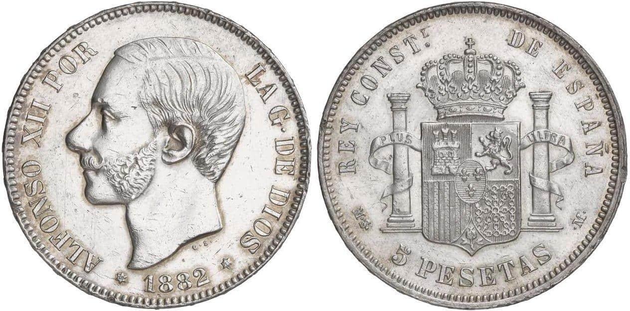 5 pesetas 1882. SC limpiada en anverso.