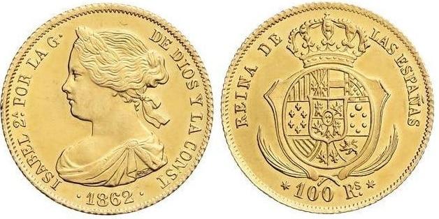 100 reales Madrid 1862. EBC+ levísimos golpecitos.