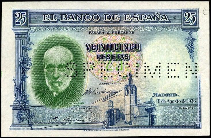 SPECIMEN de 25 pesetas 1936