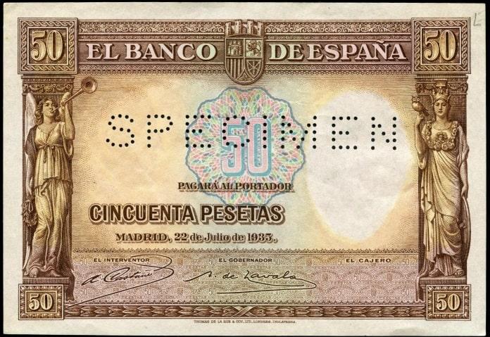 SPECIMEN 50 pesetas 1935