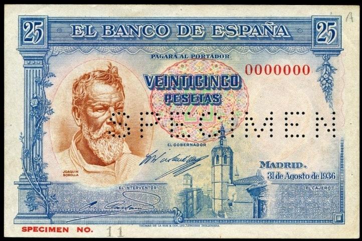 25 pesetas 1936 SPECIMEN