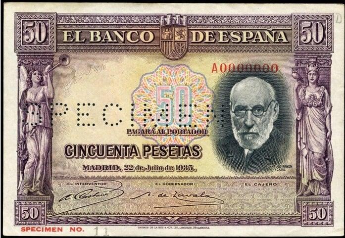 50 pesetas 1935 SPECIMEN