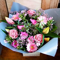 Bloom Magic - Flower Delivery Ireland - Thie Aphrodite is one of our most feminine bouquets containing a combination of powdery, and hot pink flowers that give this arrangement a special appeal making it perfect for any feminine occasion. This gift is extremely suitable when celebrating the arrival of a new baby girl, or even for romantic occasions such as Valentines day or even as Engagement flowers.