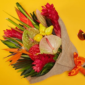 Bloom Magic - Flower Delivery Ireland - An exciting bouquet of anthuriums, birds of paradise and ginger. This bouquet of flowers is sure to brighten your day! Order same day delivery to Dublin and next day flower delivery to anywhere in Ireland.