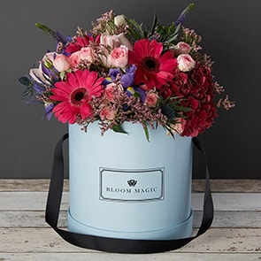 Les Jardins Du Louvre Flowers Delivered - This beautiful hatbox arrangement features red hydrangea, pink roses, and rich purple iris, expertly arranged by hand and presented in your choice of a powder blue or charcoal grey hatbox. The warm colours from the flowers gives off a warm winter glow that would heat up any home. 