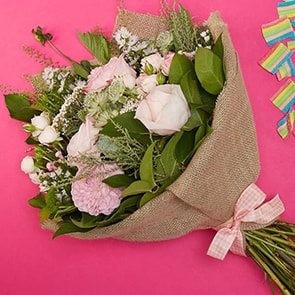 Bloom Magic - Flower Delivery Ireland - You can't go wrong with the Sweet Santa Barbara bouquet. This flower bouquet is always one of our most popular arrangements. Featuring pink wild roses and tender blushes of scabiosa, this carefully hand-arranged bouquet has sweet and romantic feel.