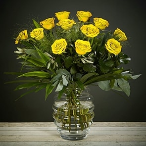 "Yellow Rose Delight Flowers Delivered - ""What's more special than receiving the classic gift of one dozen luxurious roses? Long stemmed Grade A roses, expertly hand-tied and gift wrapped are sure to make your special someone feel amazing. Choose from ½ dozen, 1 or 2 dozen in different colours.