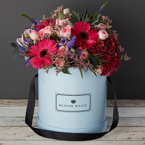 Bloom Magic - Flower Delivery Ireland - A warm bouquet containing pink roses, red hydrangea, pink roses, and rich purple iris. This flower arrangement comes hand tied in one of our beautiful hatboxes. The luxurious flowers are available for delivery to anywhere in Ireland.