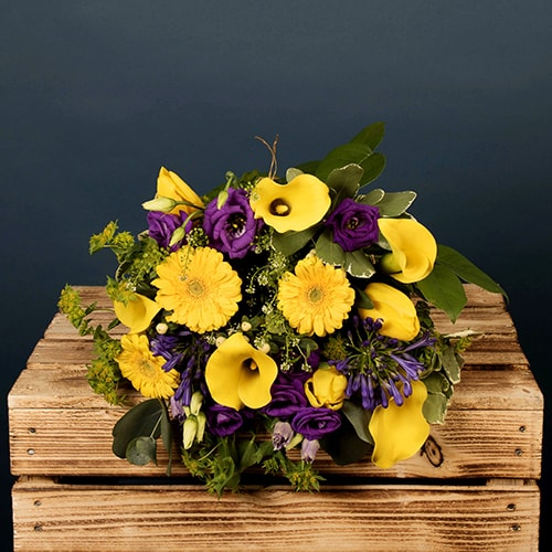 Bloom Magic - Flower Delivery Ireland - A luxury hand-tied bouquet featuring yellow germini, purple lilac and calla lillies. This bouquet of flowers makes the perfect gift for a birthday, thank-you or new baby.