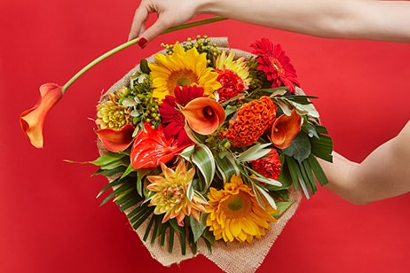 Bloom Magic - Flower Delivery United Kingdom - A warm and bright bouquet of gerbera, sunflowers and calla lillies. Always the freshest flowers. Available for flower delivery anywhere in  United Kingdom.