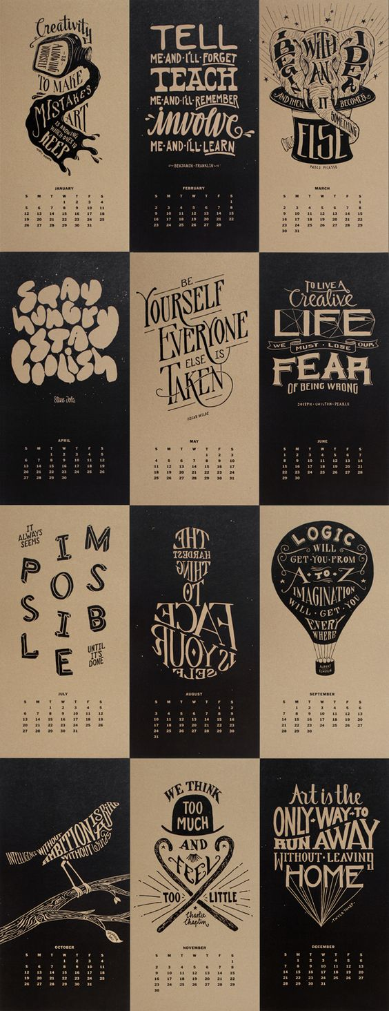 Calendar Typography Examples : Creative calendars and wall planner inspiration