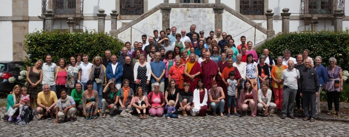 Rinpoche in group photo with summer camp participants