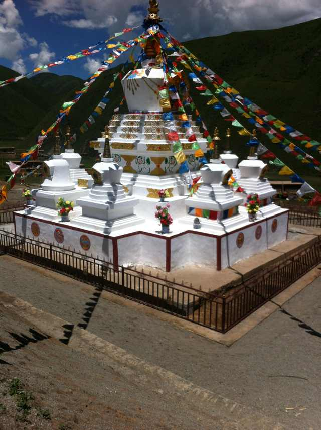 Uncle's memorial stupa in Rigul, East Tibet.