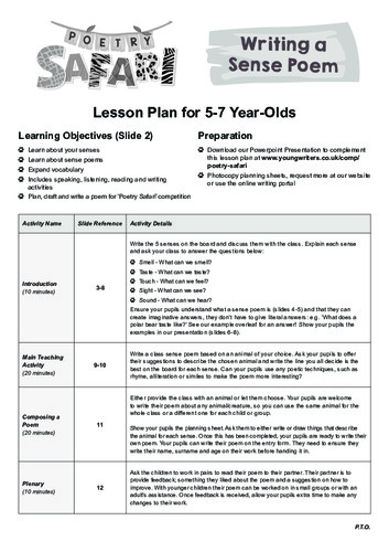 Sense Poem Lesson Plan Thumbnail