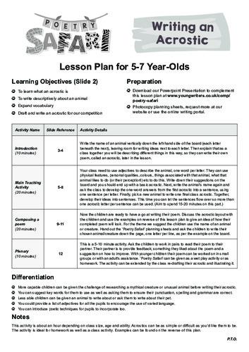 Acrostic Lesson Plan Thumbnail