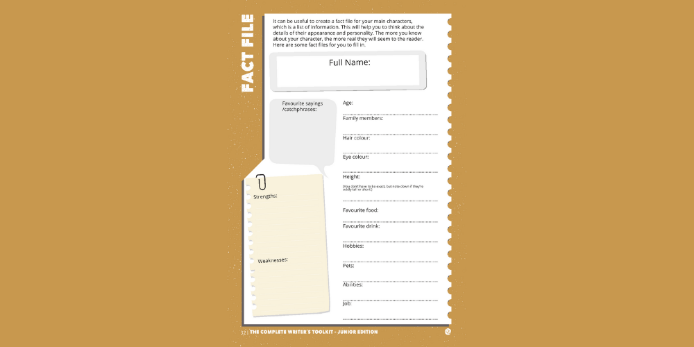 Junior Toolkit Writing tip - The Character Fact File Image