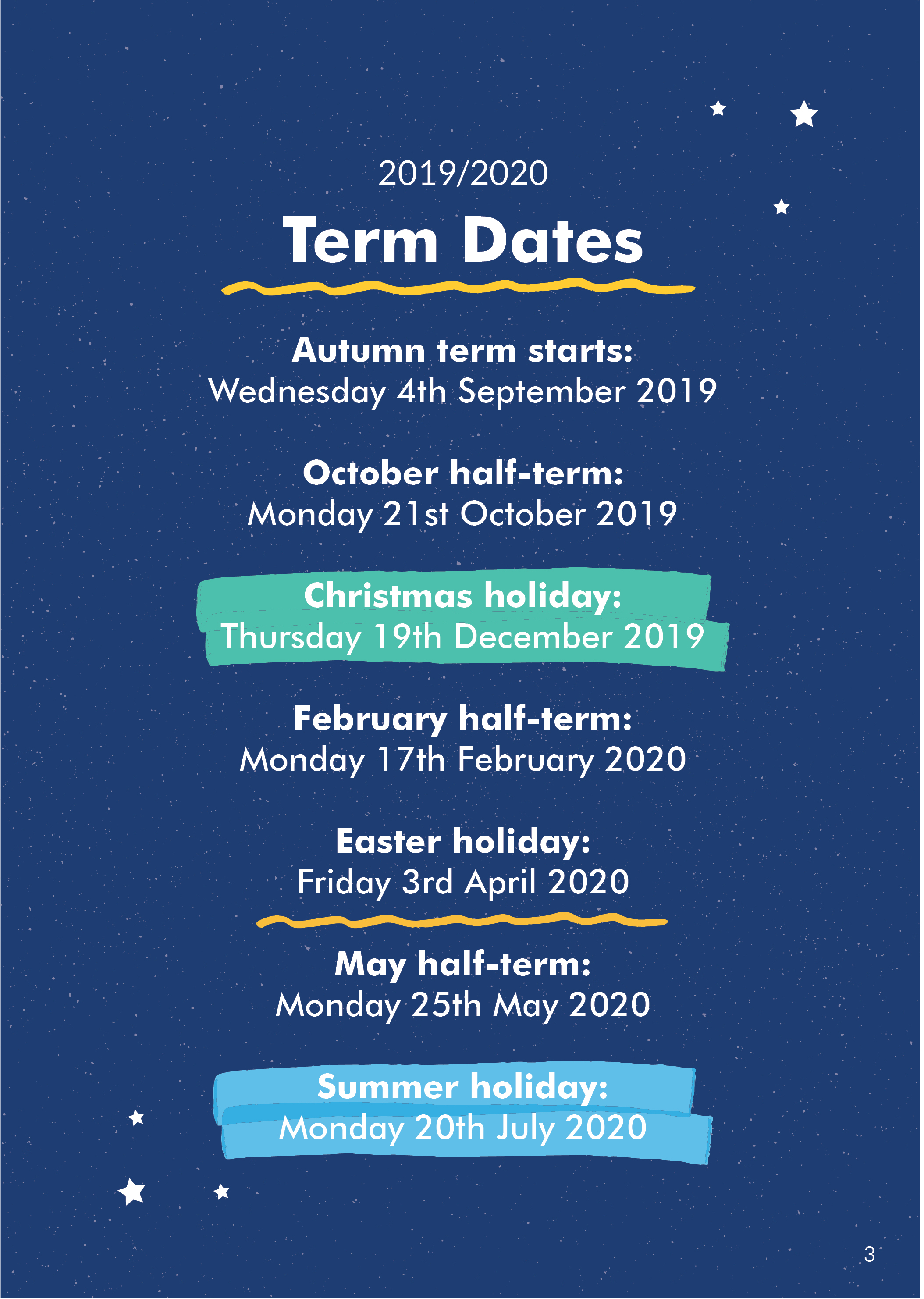 Diary - Term Dates