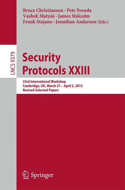 Cover of 'Security Protocols XXIII'
