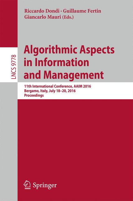 Cover of 'Algorithmic Aspects in Information and Management'