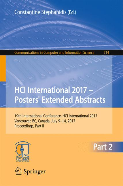 Cover of 'HCI International 2017 – Posters' Extended Abstracts'