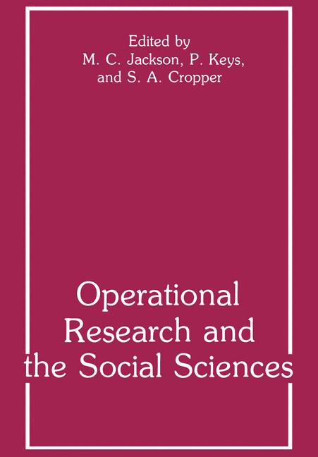 Cover of 'Operational Research and the Social Sciences'