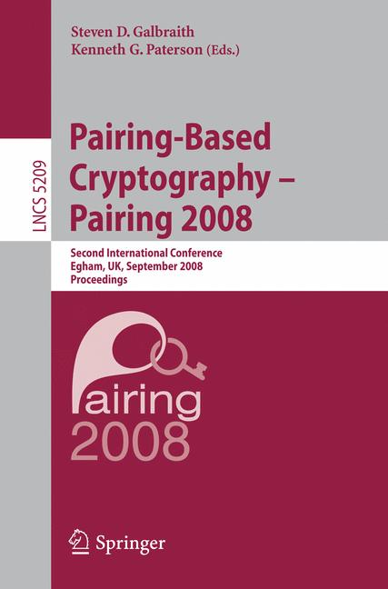 Cover of 'Pairing-based cryptography - Pairing 2008'