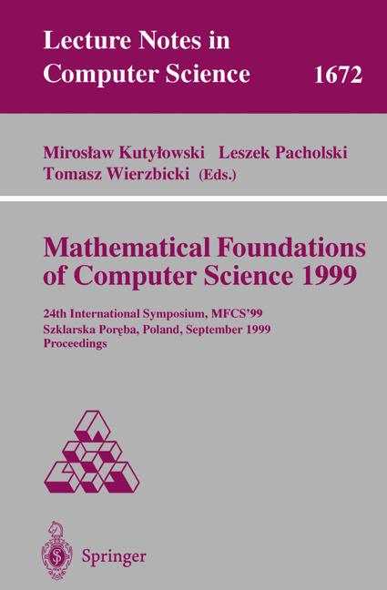 Cover of 'Mathematical Foundations of Computer Science 1999'