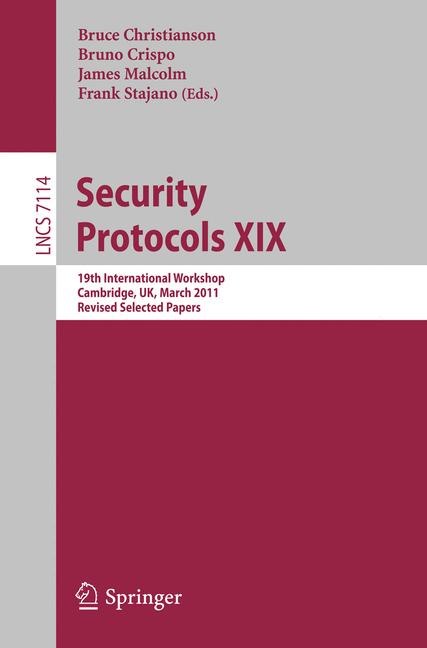 Cover of 'Security Protocols XIX'