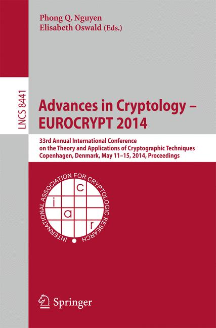 Cover of 'Advances in Cryptology – EUROCRYPT 2014'
