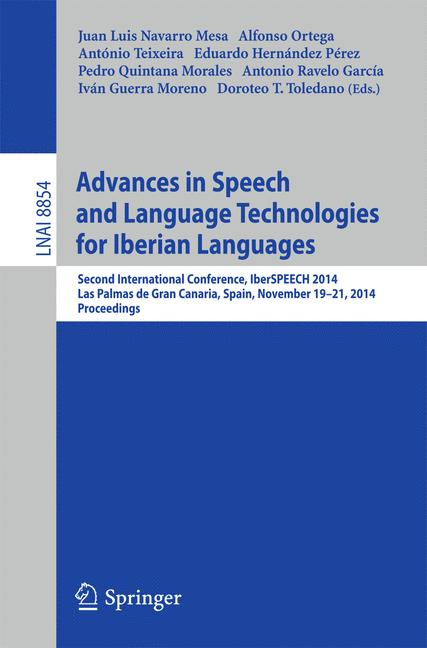 Cover of 'Advances in Speech and Language Technologies for Iberian Languages'