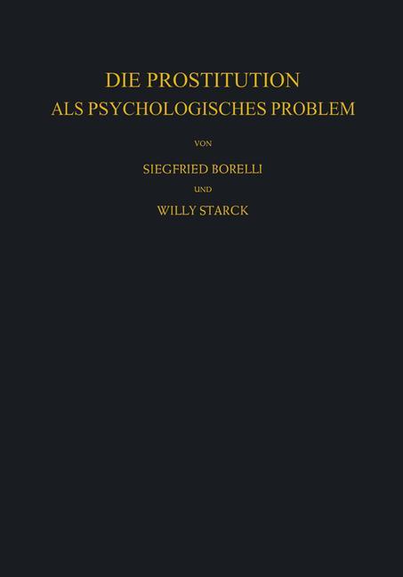 Cover of 'Die Prostitution als Psychologisches Problem'